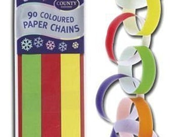 Craft Paper Chain Pack - 90 Colourful Links