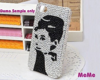 1 Set  Deco Kit Bling Audrey Hepburn Sticker Pearls Rhinestones Cabochon Deco Den on Craft Cell Phone Case DIY Deco kit DD3131