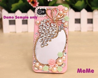 1 Set Deco Kit Bling Alloy Grapes Mirror Gems Rhinestones Accessories Cabochon Deco Den on Craft Cell Phone Case DIY Deco kit DD3800