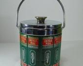 Vintage Ice Bucket with Encyclopedia Gaphics