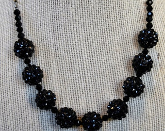 Black Crystal Ball Necklace, Black Crystal Necklace, Black Ball Necklace