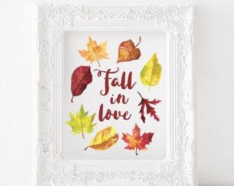 Thanksgiving printable, autumn printable, fall printable, fall in love printable, fall in love print, thanksgiving print, fall print