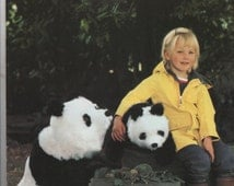 Instant PDF Download Vintage Chart Sewing Pattern to make A Mother & Baby Giant Panda Bear Stuffed Plush Soft Body Toy Animals Wildlife