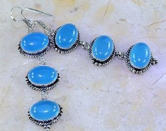"Blue Chalcedony 3"" Dangle Earrings - Slightly different setting"