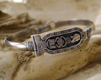 Egyptian Jewelry, Egyptian Bracelet, Sterling Silver Bracelet, Vintage Silver Bracelet, Sterling Bracelet, Ancient Egypt, Vintage (B141)