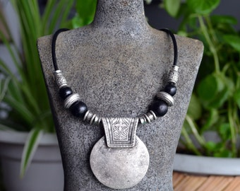Leather Necklace, Tribal Leather Necklace, Antique Silver Necklace, Round Disc Necklace, Silver Disc Necklace, Ethnic, Tribal (376)