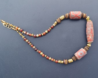 Eye Agate Necklace, Old Tibetan Agate, Beaded Necklace, Golden Agate Necklace, DZI, Eye Beads (47)