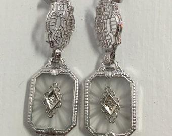 Antique Art Deco Filigree Camphor Glass Earrings-14k White Gold-Diamond
