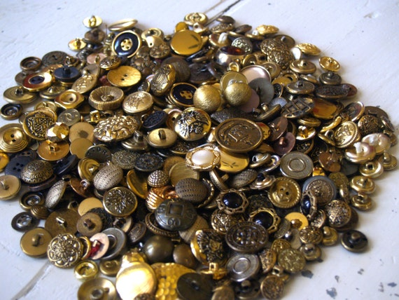 Gold Button Lot Metal Vintage Crafts Supply Sewing Art