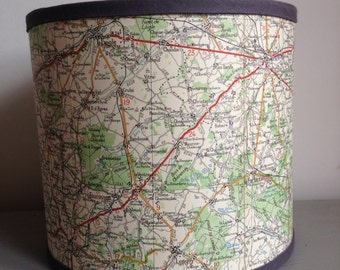 Handmade Drum Lampshade, Vintage French Michelin Map,  Vintage Lampshade, 20 cm