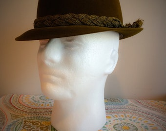 FATHERS DAY Vintage 1950's Mens Olive Green Cavanagh of New York Hipster Fedora Hat Size 7