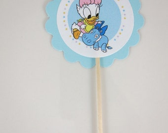 Daisy Baby Shower cupcake picks- Choose between  Round Double sided or Round scalloped single sided cupcake picks