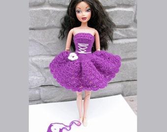 Purple Barbie dress, Crocheted Barbie dress and handbag, Doll clothes, Barbie outfit, Liv, Fashion Royalty, Disney princess, Gift for girl