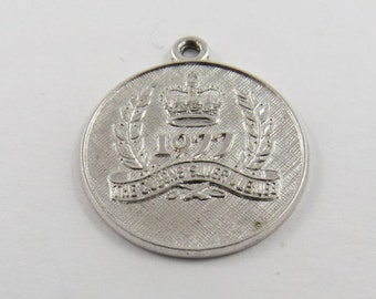 The Queens Silver Jubilee 1977  Sterling Silver Charm or Pendant.