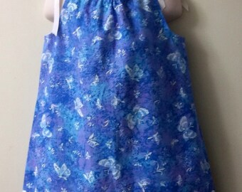 Handmade Retro Style Toddler 1T/2T Sky Blue/Lilac Butterfly Cotton Summer Sundress