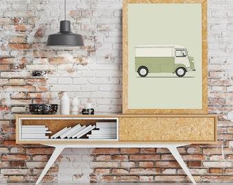 classic car citroen HY van retro cars illustration drawing art print poster classic cars illustration serie