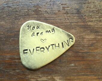 You are my Everything Heart | Hand Stamped Guitar Picks Gift - Aluminum Copper Brass - Gift under 20 dollars