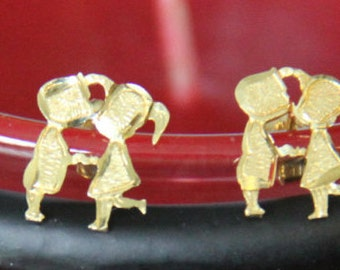 14K Yellow Gold Love IS Earrings Kids Kissing Post Earrings Valentines Day Vintage Jewelry Fine Earrings from the 1980's UNIQUE Rare Jewelry