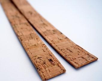 2 cm/0.79 inches width - Pair of Natural CORK straps, natural cork handles, purse straps, craft supplies DIY, handmade supplies