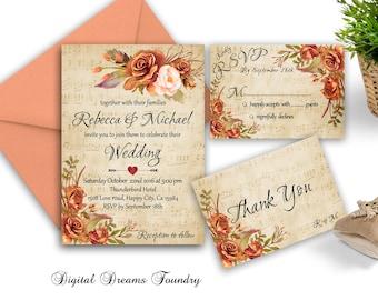 Rustic Wedding Invitation Printable Fall  Wedding Invitation Boho Wedding Invitation Suite Romantic Gold Orange Roses Wedding Invitation