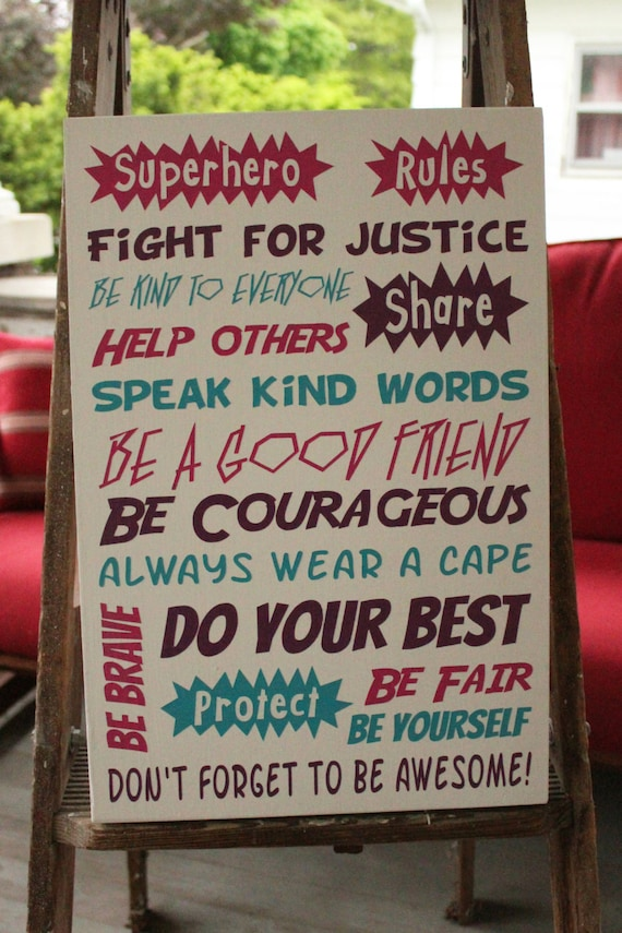 Superhero Rules Hand Painted Wood Sign Kids By Craftymamagifts