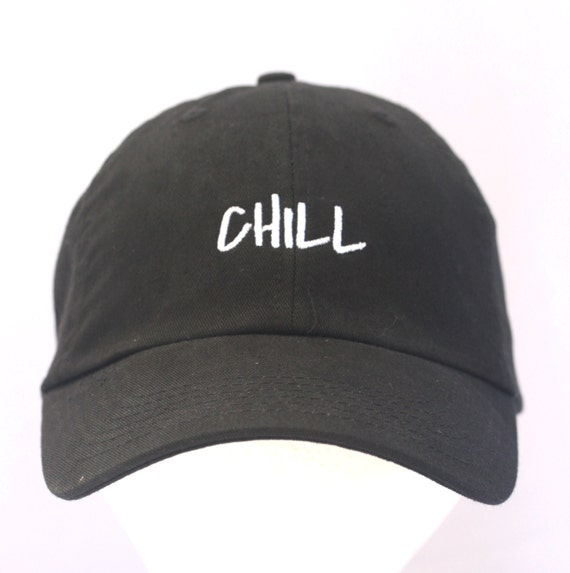 CHILL - Polo Style Ball Cap (Black with White Stitching)