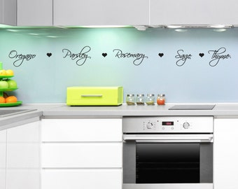 Herb Names Kitchen Wall Decal - Kitchen Wall Stickers with Herb Words and Hearts