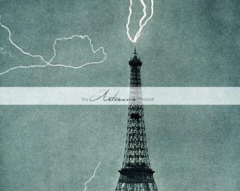 Instant Art Printable Download - Lightning Striking the Eiffel Tower  - Vintage Photography - Paper Crafts Altered Art Scrapbook - Paris
