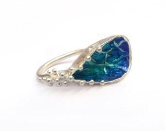 Blue  Bowl Ring, Sterling Silver  Enamel  Ring, Blue Enamel ring, Texture Ring, Modern  Ring, Modern Jewelry, Silver 925 Ring, Handmade Ring