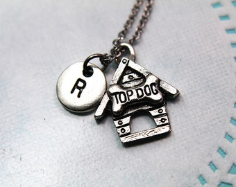 Top Dog Necklace with Personalized Initial Necklace Monogram Charm Custom Jewelry