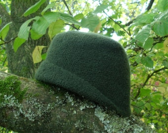 Beautiful Dark Green Felted Wool Hat