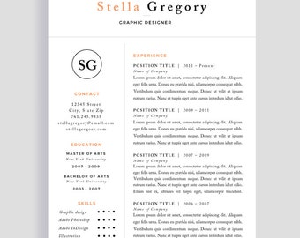 cv template professional resume template and cover letter for word and pages one page instant download creative resume