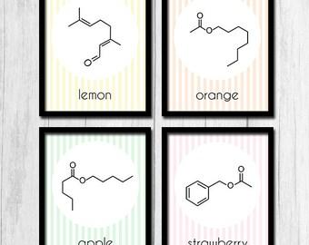 Fruit Poster Molecule Art Digital Download Fruit Art Molecule Print Nerd Printables Geek Prints Fruit Prints Lemon Orange Organic Chemistry