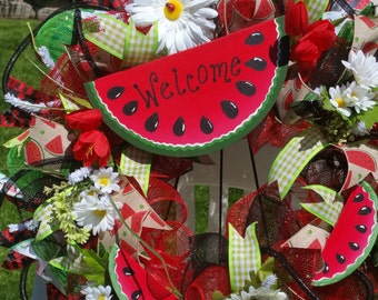 Summer Mesh Wreath/Watermelon mesh wreath/Mother's day wreath/Made to Order only