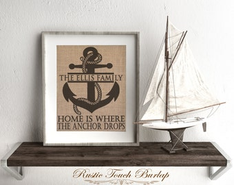 Beach wedding gift, Beach Wedding Decor, Anchor decor, Home Is Where the Anchor Drops Burlap Print, Navy wife, US Navy decor, beach house