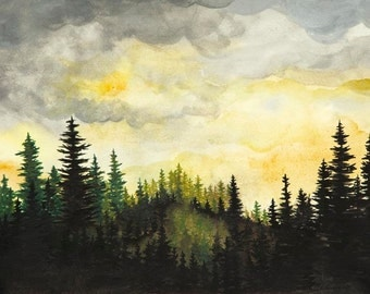 Forrest Sunset Watercolor Painting Print