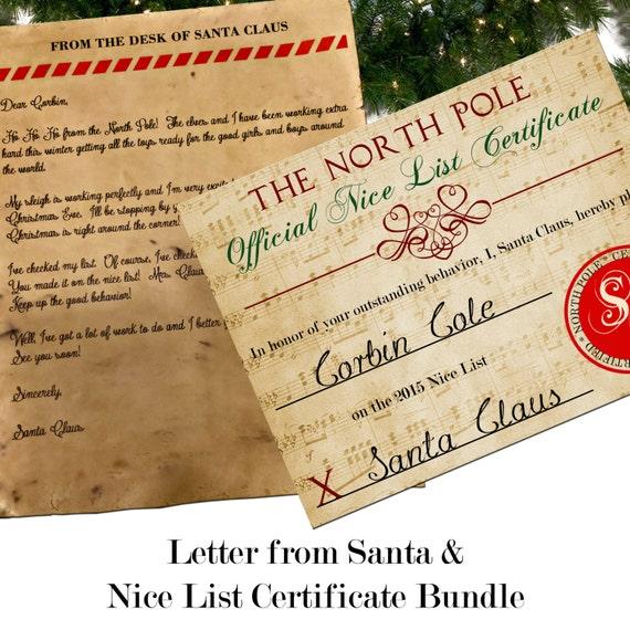 Santa letter with envelope nice list certificate bundle for Nice list santa letter