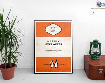 Vintage Penguin Book Style Personalised Wedding Poster Print Art - Wedding Gift