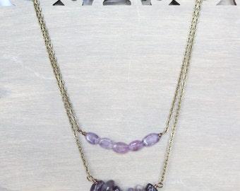 Layered Amethyst Necklace - Bronze Metal, Purple, Boho Necklace, Bohemian Style, Women's Fashion