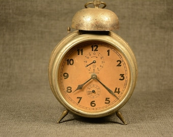 German alarm clock Junghans, Vintage alarm clock, Retro mechanical clock, Antique alarm clock 1920