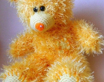 Yellow Hand knitted Teddy Bear Valentine's Day Gift with Love Gift for Her MADE TO ORDER