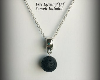 Aromatherapy Jewelry- Lava Stone Diffuser Necklace, Young Living or doTerra