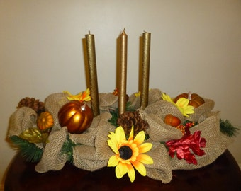 Holidays Thanksgiving Centerpiece Burlap and Sunflower with Bronze Candles