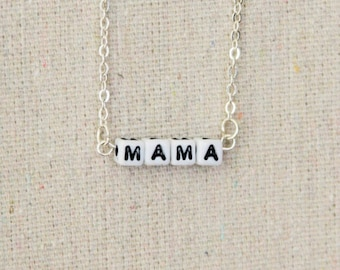 """Personalized """"MAMA"""" phrase necklace, on a silver chain"""