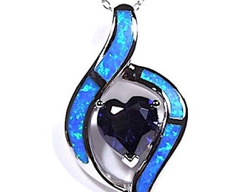 Heart Tanzanite & Blue Fire Opal Inlay 925 Sterling Silver Pendant With 18'' necklace