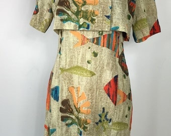 80's MC Squared beautiful unique Japanese vintage dress underwater colorful fish and reef graphic print. Size L 30