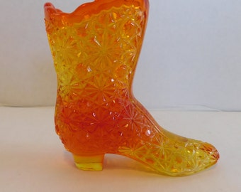 Vintage Amberina Victorian Boot