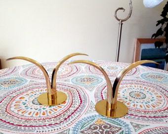 Pair of Ystad Metall Brass Lily Candle Holders / Scandinavian Candlesticks / Mid Century Modern Swedish Candle Holders