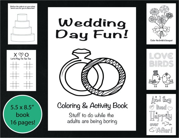 wedding coloring and activity book reception game kids wedding coloring book wedding coloring page wedding word search printable - Wedding Coloring Pages