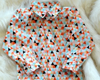 Geometric Retro Boys Shirt | Cotton Shirt | Boys Aqua Orange Pattern Shirt | Boys Dress Shirt | Coloured Modern Shirt | Kids Geometric Shirt